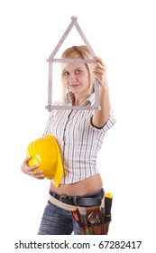 Sexy blonde engineer woman with a folding rule in her hand in form of house