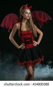 sexy blonde  girl wearing a halloween costume