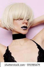 Sexy Blonde Model Black Lips stylish haircut Fashion Velvet Choker Necklace