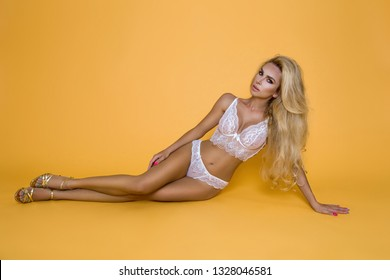 Sexy blonde Model Posing In Lingerie - Image