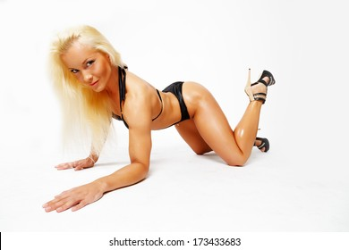 Sexy blonde on all fours