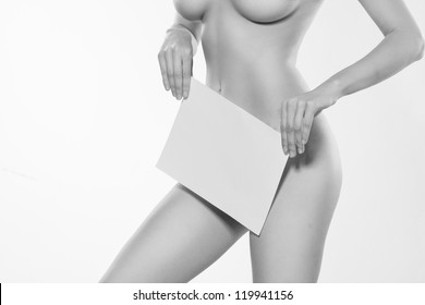 Sexy blonde with a placard. Isolated on white.