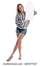 Sexy blonde woman holding a blank white board to present something, isolated on white