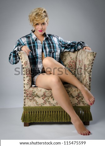 b21c05c12687 Sexy Blonde Woman Open Shirt Sitting Stock Photo (Edit Now ...