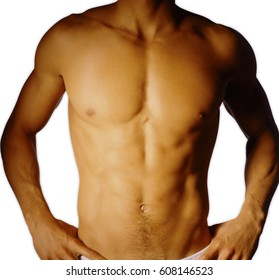 Sexy body of nude muscular man, isolated