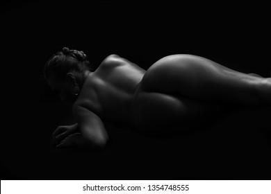 Sexy body nude woman. Naked beautiful girl.