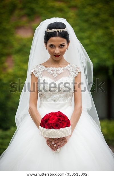 Sexy Brunette Bride Vintage Stylish White Stock Photo Edit Now