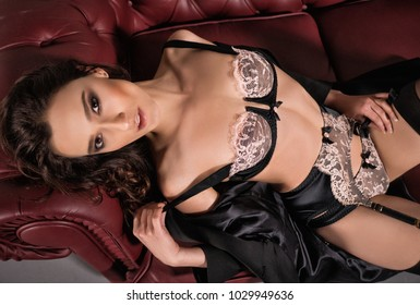 Sexy brunette woman in  fashion lingerie