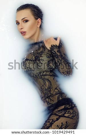 Brunette black lace dress think