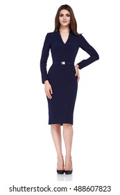 Sexy brunette woman skinny business style dress black color perfect body shape diet busy glamour lady casual style secretary diplomatic protocol office uniform stewardess air hostess etiquette suit