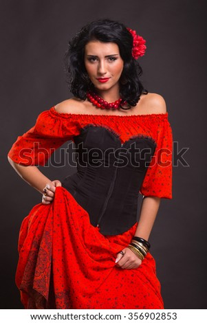 Sexy Brunettee Red Dress On Dark Stock Photo Edit Now 356902853