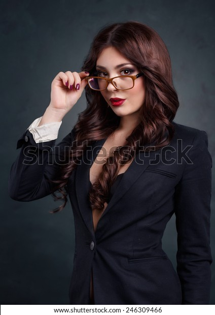 Sexy Business Woman Dark Business Suit Stock Photo Edit Now
