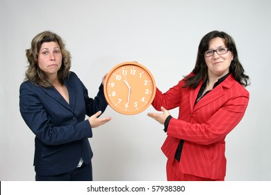sexy businesswoman with clock, business photo