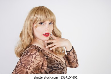 sexy caucasian plump woman with blonde hair dressed in transparent lingerie bodysuit with snake print. sexual girl pose on white background in the Studio.