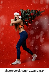sexy Christmas fitness sport woman wearing santa hat holding xmas tree on her shoulders. standing on a red background boke. expression of emotions