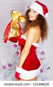 sexy christmas woman on white background