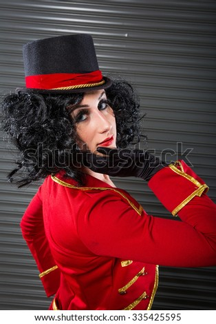 Sexy Circus Ringmaster Woman Looking Over Her Shoulder