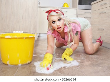 Sexy cleaning lady
