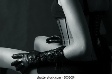 sexy corset and black gloves