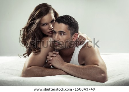 Sexy couple on bed images