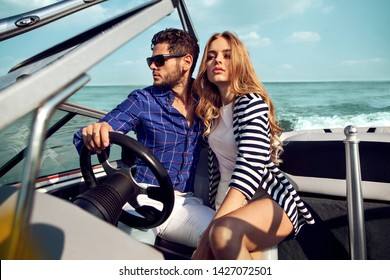 Sexy couple on the luxury yacht,  sail