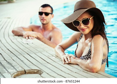 Sexy couple on sunny vacation day
