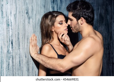 Sexy couple play in love games. BDSM.