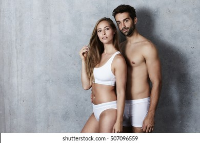 Sexy couple posing in not much, portrait