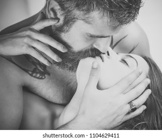 Sexy couple.Boyfriend and girlfriend, massage and relax. Relations of couple isolated on white. Couple in love of sexy man and woman. Man and girl with naked body. Love and sex games.