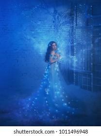 sexy cute brunette snow queen luxury elegance blue dress open bare shoulders. ice fog frost winter snowy room. interior fills magic sparkles shine glitter glows light lamp. Art Photo vintage princess