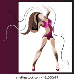Sexy dancer woman. Go-go girl. Suitable for invitation, flyer, sticker, poster, banner, card,label, cover, web.