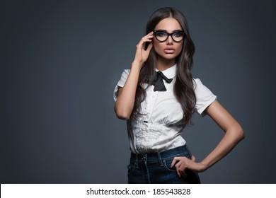 Sexy elegant woman in glasses