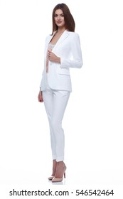 Sexy elegant woman natural beauty fashion style clothes casual formal suit lady in white jacket pants silk romantic meeting date blouse and pants party style glamour model trend dark hair makeup