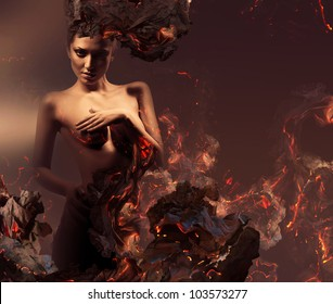 sexy erotic nude woman in burning ashes