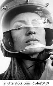 Sexy fashion female biker girl button up open face motorcycle helmet