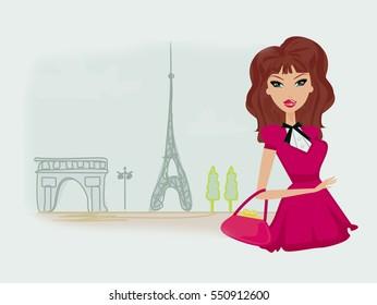 sexy fashion girl Shopping in Paris