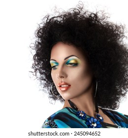 Sexy fashion model face with african style hairstyle and make-up