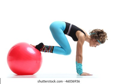 sexy female doing aerobic exercises in sports clothing