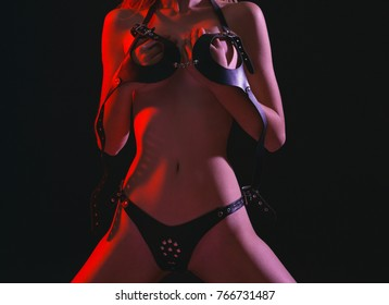 Sexy female fetish-wear. Dominant, lesbian. Fetish lingerie. Sexy woman in erotic fetish wear. Beautiful nude body of sensuality. Nude sexy woman in black underwear.