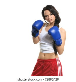 Sexy female fighter isolated on white background
