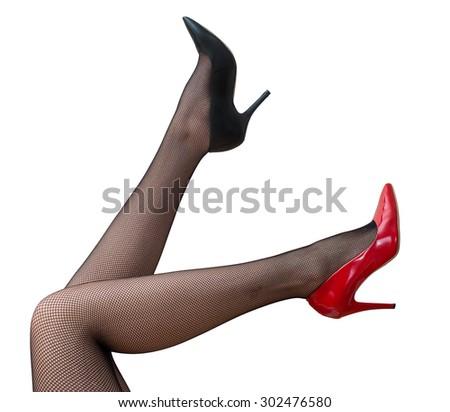 a41e85bcea8 Sexy Female Legs Black Tights Raised Stock Photo (Edit Now ...