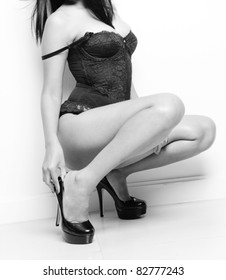 sexy female model posing in lingerie