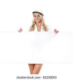 Sexy female sailor isolated over white background