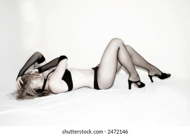 A sexy female wearing lingerie