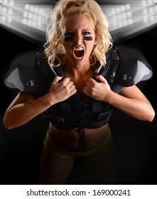 Sexy Fierce young woman Football Player with text space below