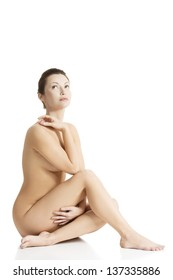 Sexy fit naked woman with healthy clean skin, isolated on white background