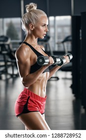 Sexy fitness woman doing exercise in gym. Athletic girl working out