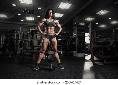 sexy fitness woman in sport wear with perfect fitness body posing  in gym
