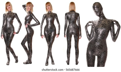 Sexy Funny Zentai Fetish Fashion Catsuit Studio Posing Smiling Catalog