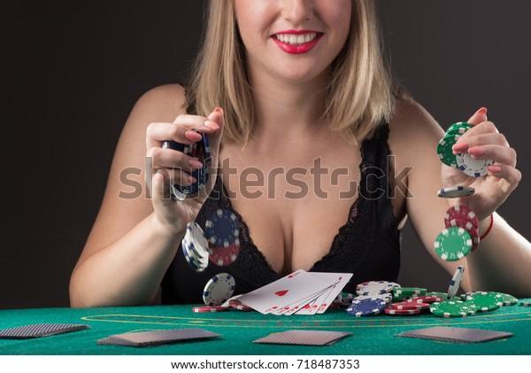Sexy Girl Black Lingerie Win Poker Stock Photo (Edit Now) 718487353